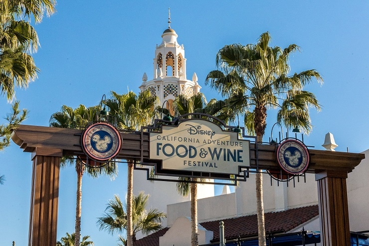 Disney Food & Wine Festival - sign saying California Adventure Food & Wine Festival