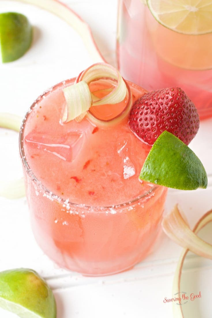 Delicious Margaritas to Make This Summer - Strawberry Rhubarb Margarita Recipe