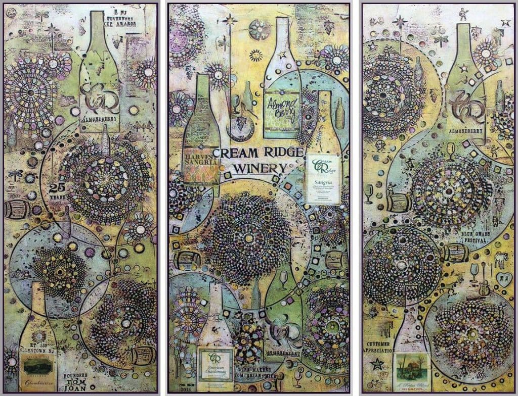 Cream Ridge Winery 3 panel mural with mandalas and wine bottles in New Jersey