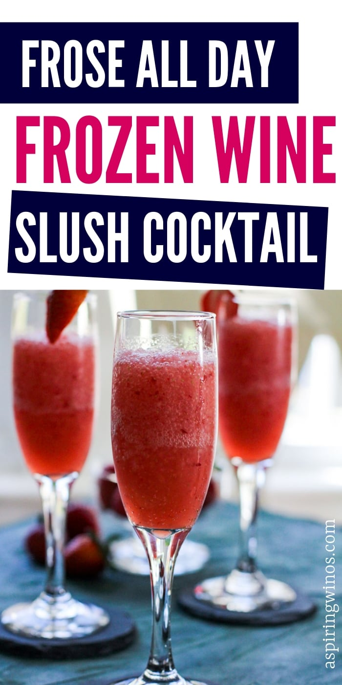 Make one of these easy frozen wine slush cocktails this summer and entertain around the BBQ or on the patio in style. Everyone will be saying frose all day as you enjoy the summertime with a delicious patio pounder made of rose wine. #cocktails #blender #froze #rose #wine