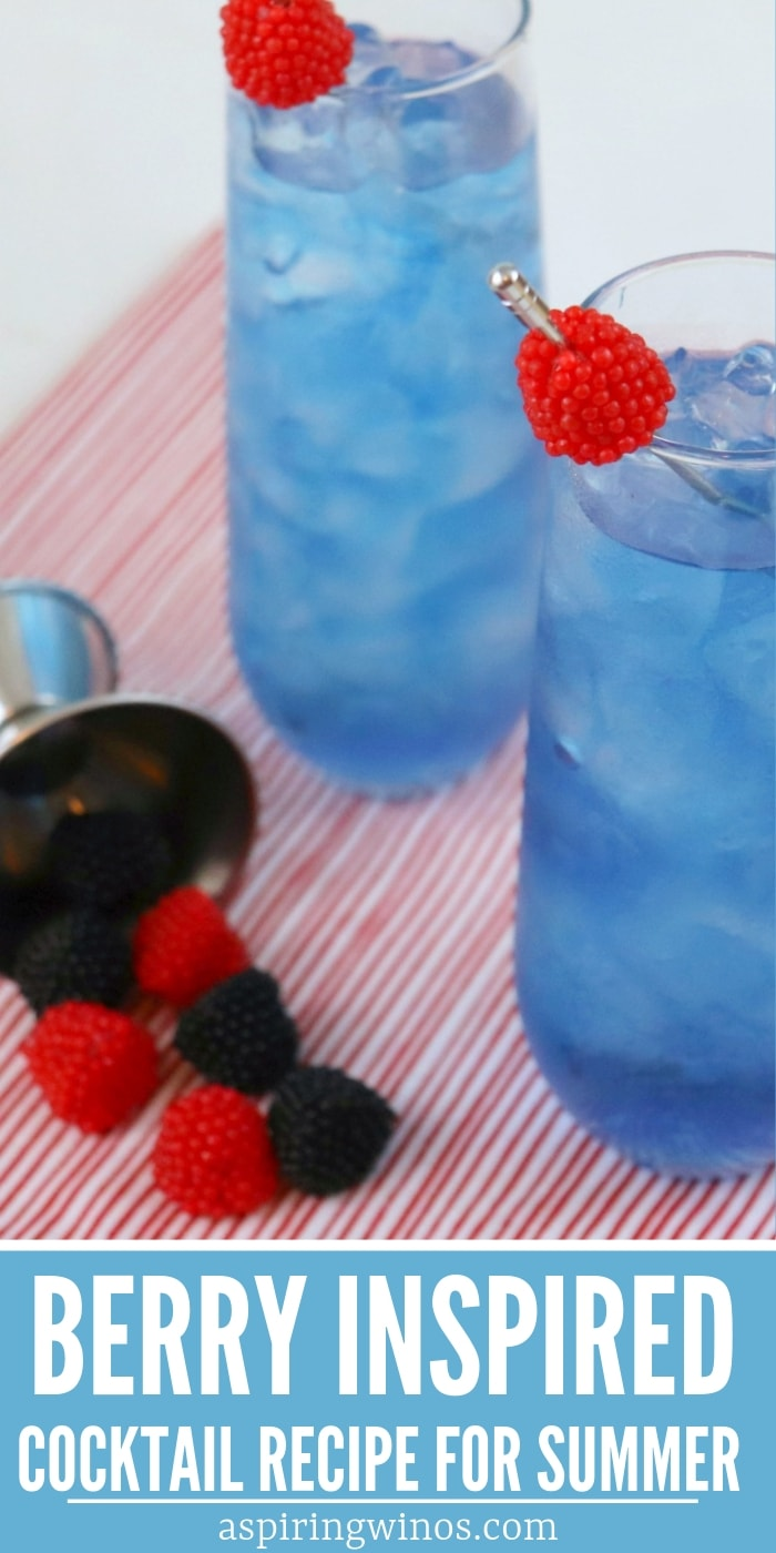 The best Very Berry Cocktail Recipe, here to add some fresh summer berry ideas to your table... and your glass! This is also a gorgeous blue cocktail, perfect for making a signature cocktail for a wedding, or as an adult beverage for a gender reveal party. #berries #mixeddrinks #cocktails #weddingideas #genderreveal