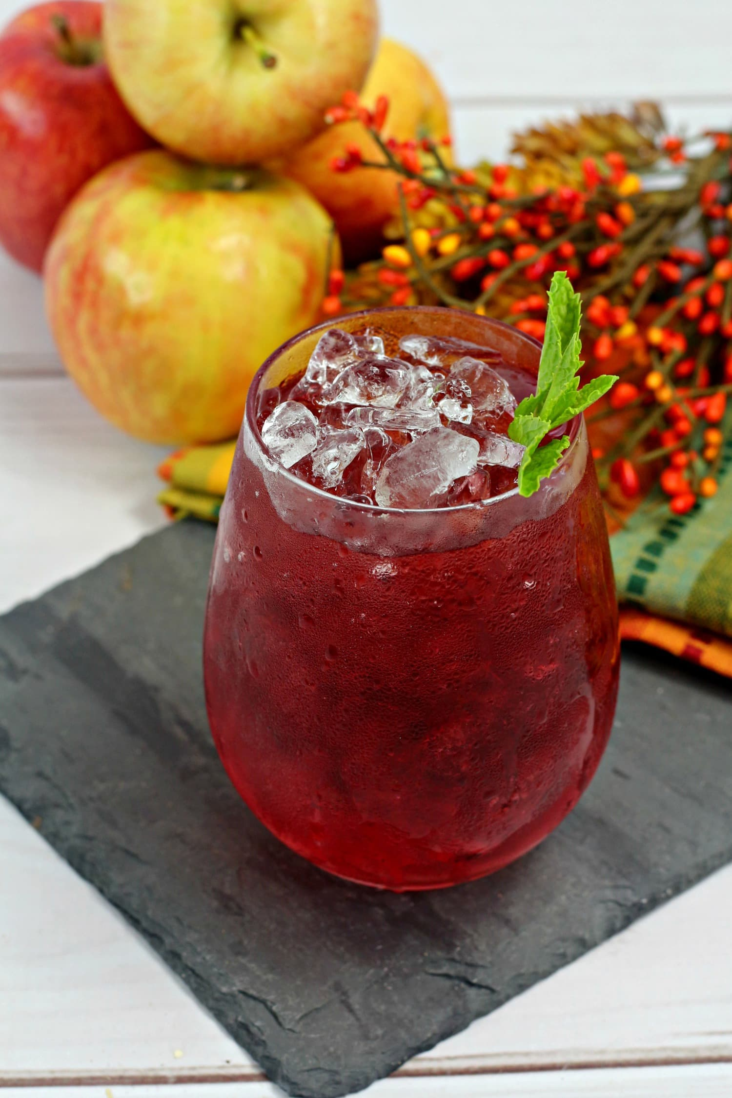 berries and apples make for a delightful rum-based cocktail