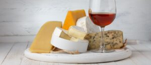 cheese with red wine for a wine tasting