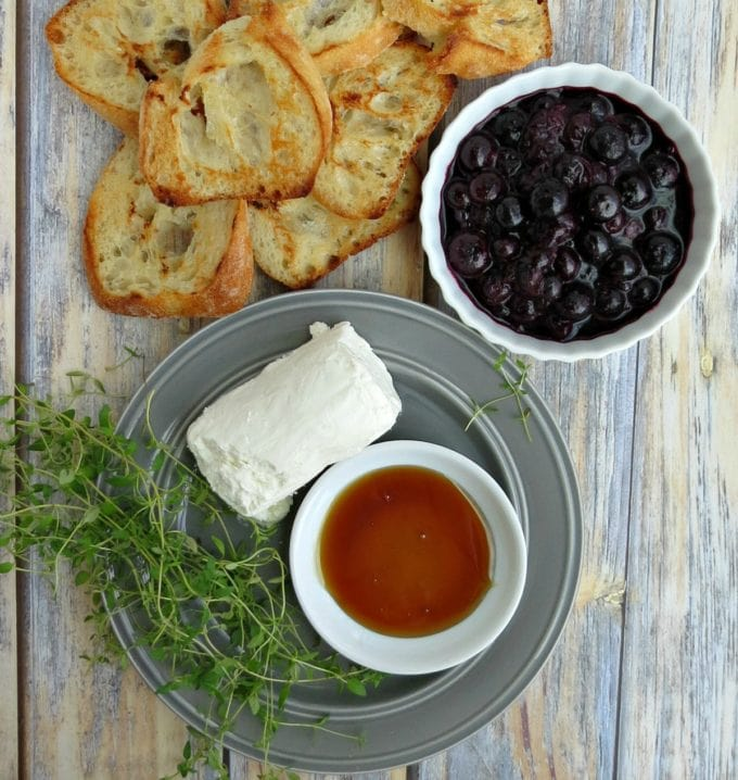 Blueberry and Goat Cheese Crostini with Thyme and Honey