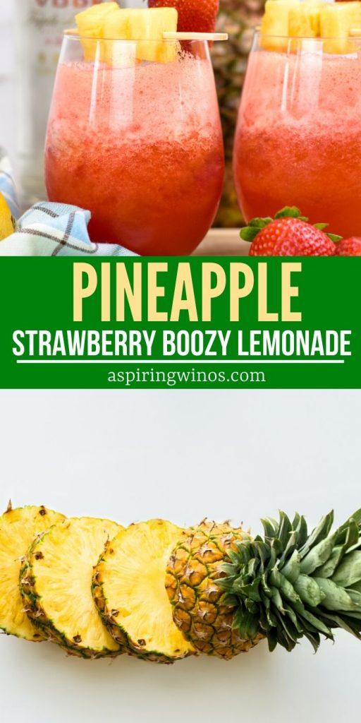 Boozy Strawberry Pineapple Lemonade | Summer Cocktail| Strawberry Cocktail | Pineapple Lemonade Cocktail | Strawberry Pineapple Lemonade Cocktail | Best Summer Cocktail | Spiked Slushie | Spiked Lemonade | #cocktail #summercocktail #boozydrink