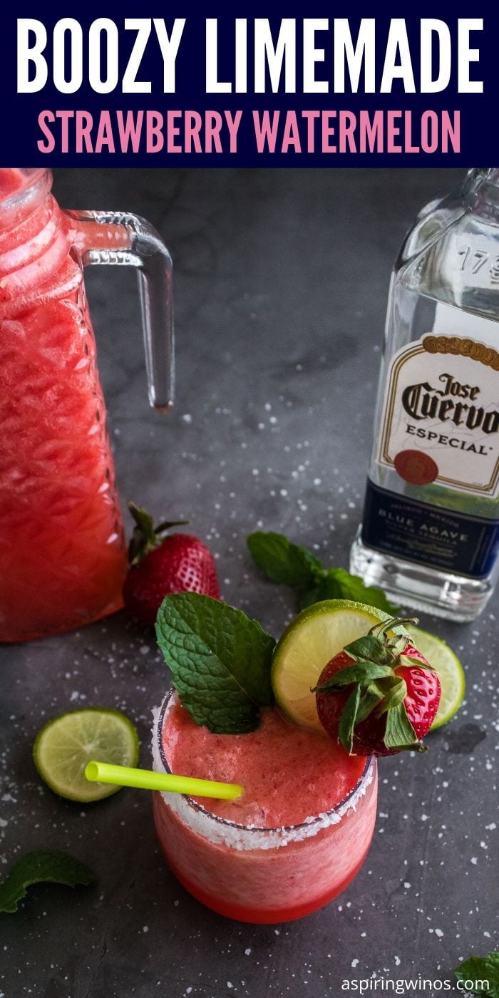Boozy Strawberry Watermelon Limemade | Strawberry Watermelon Limemade Margarita | Strawberry Watermelon Cocktail | Best Summer Cocktail | Summer Cocktails | Cocktail for Summer Festivities | #cocktail #watermelon #strawberry #tequila #party #goals