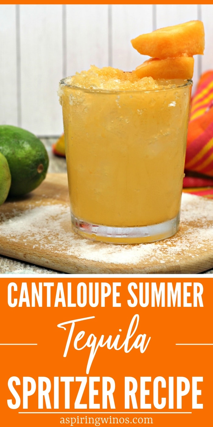 Mix up one (or a whole jug) of these cantaloupe tequila spritzers for a refreshing summer drink for the patio. You'll be a hit at your next grill out or #bbq when you serve this easy cocktail. #mixeddrinks #tequila #grilling #alcohol #cocktails