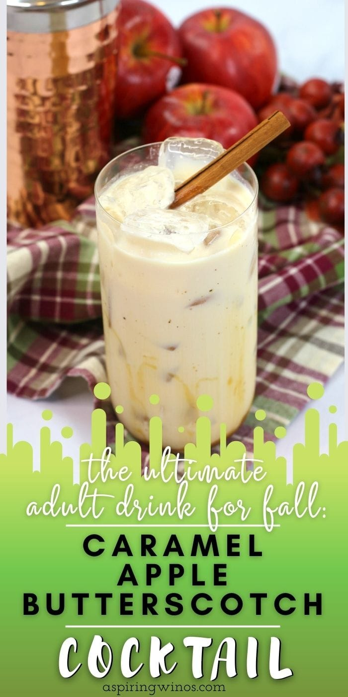This caramel apple butterscotch cocktail is a sweet and creamy, treat balanced with tart apple and a boozy heat. Enjoy fireside, apple picking or as a fall cocktail with friends.