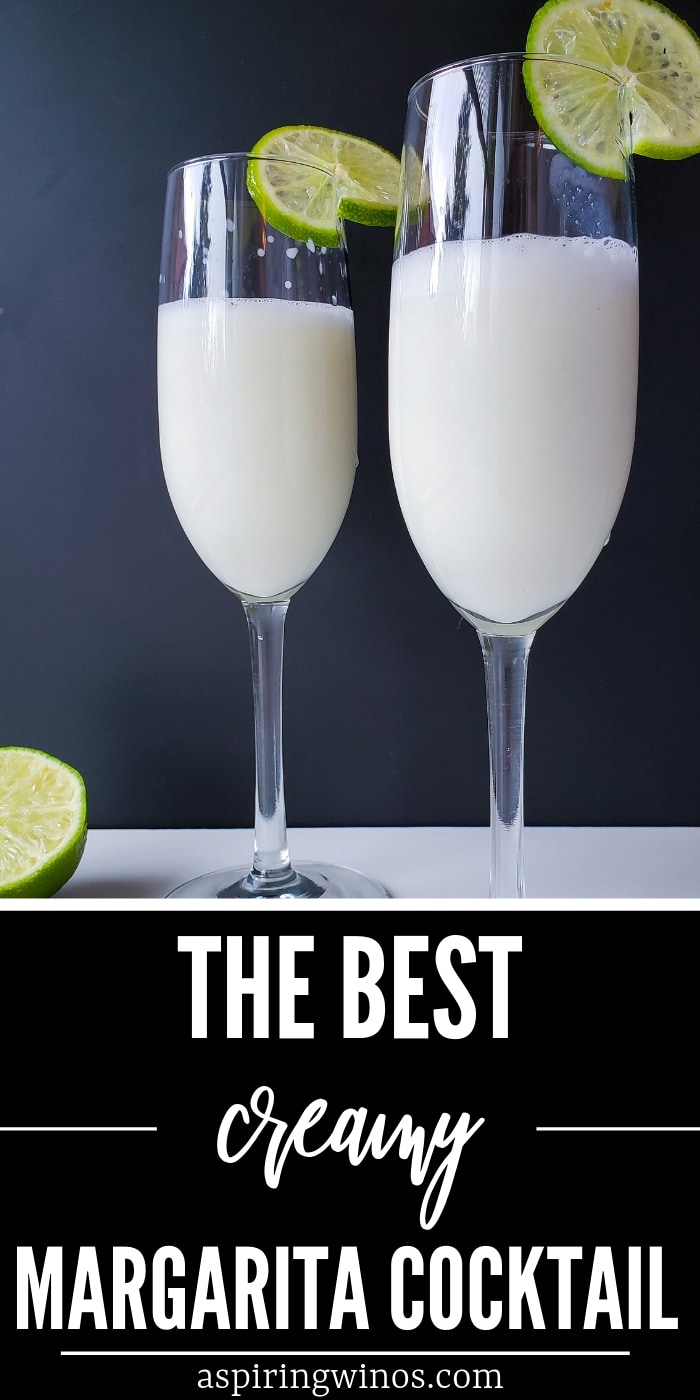 The best creamy margarita cocktail! | Try this spin on the classic margarita today, it's smooth and rich, without the bite of a traditional tequila margarita. The lime flavour comes through and it's frothy and delicious. #cocktail #tequila #margarita #bartending