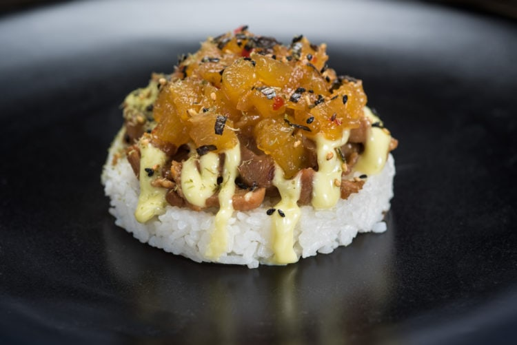 Disney Food & Wine Festival - close up of a rice appetizer that looks like sushi