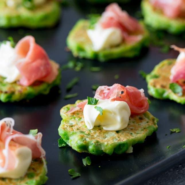 Pea Bites with Prosciutto and Mascarpone