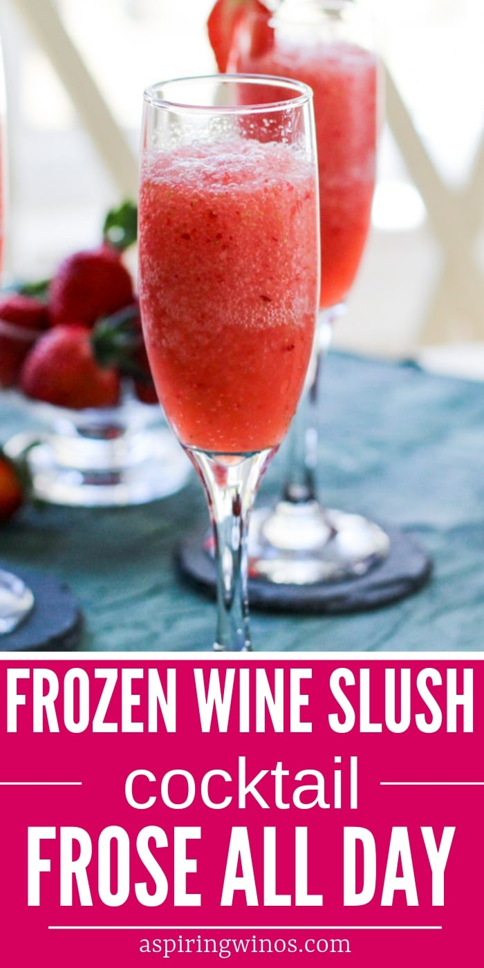 Frozen Wine Slush Cocktail | Mix up a batch of this strawberry and wine cocktail to enjoy your weekend with friends! Cool off on the dock or in the backyard Wine Slush Cocktail Recipe | Frozen Wine Cocktail | Rose' Wine Cocktail | Red Wine Cocktail | #cocktails #blender #froze #rose #wine  #cocktail #wineslush #frozenwine #recipe