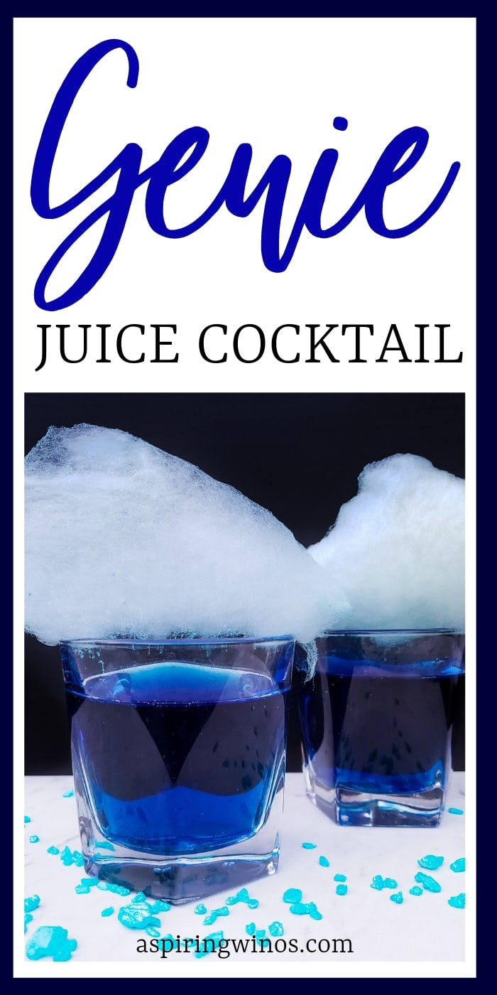 Genie Juice Cocktail - an Aladdin themed treat for adults that can also be turned into a #mocktail for kids and non-drinkers, it's a beautiful #blue drink with wow factor. Take it next level and make some homemade cotton candy to top it off. #cocktails #aladdin #mixeddrinks