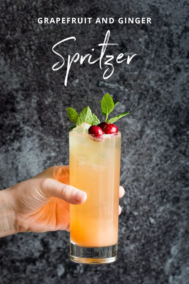 Virgin #Mocktails and Non-Alcoholic Cocktails | Grapefruit & Ginger Spritzer topped with cherries and fresh mint