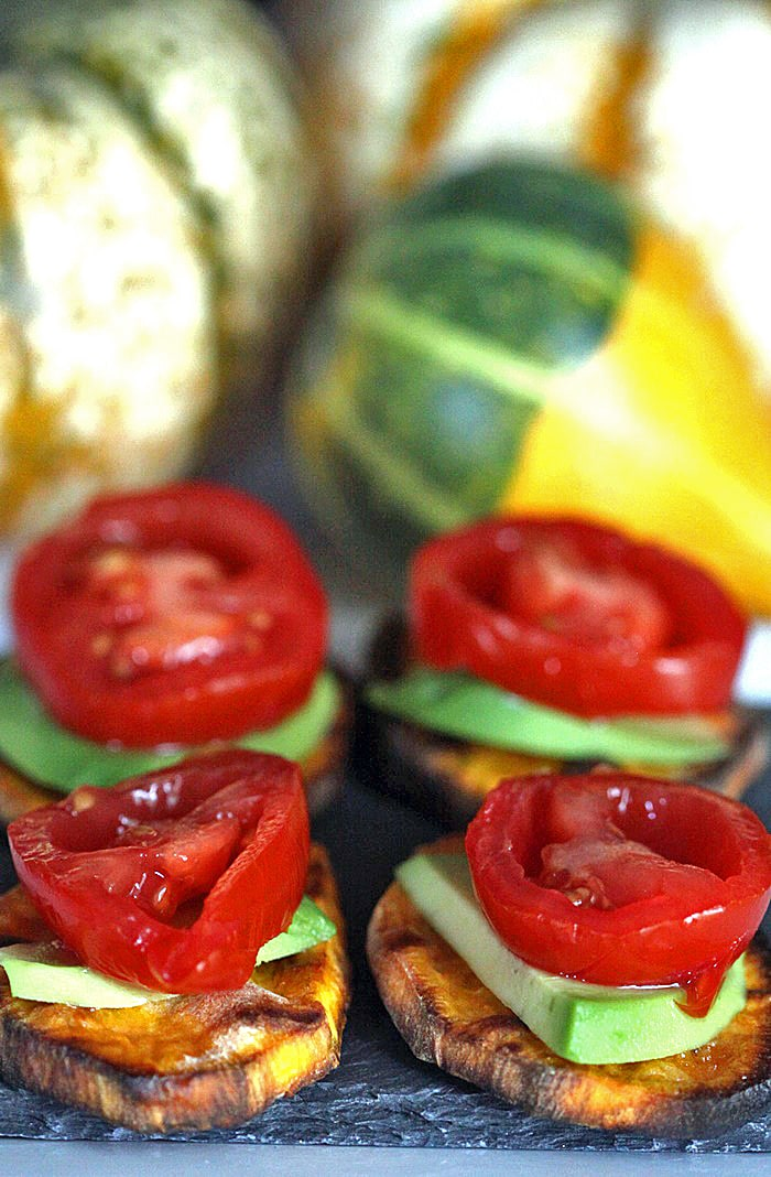 Grilled Sweet Potato Bites Appetizer With Avocado and Tomato