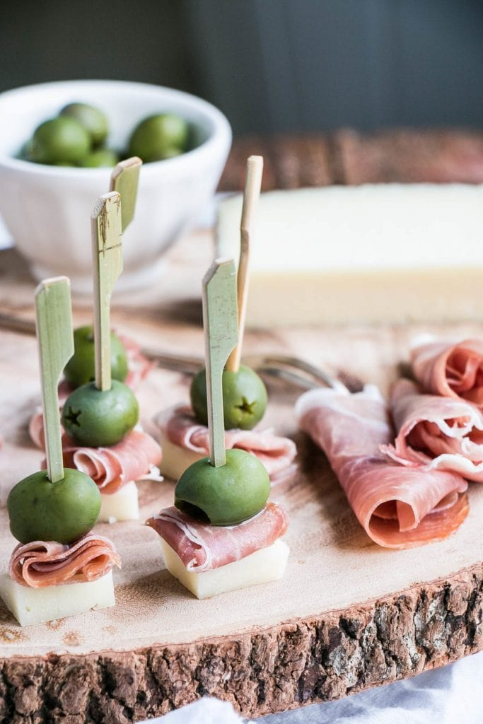 Manchego Cheese, Ham, and Olive Bites