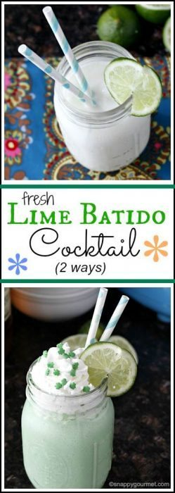 Green Cocktails To Celebrate St. Patrick's Day Without Beer - Fresh Lime Batido Cocktail 2 ways