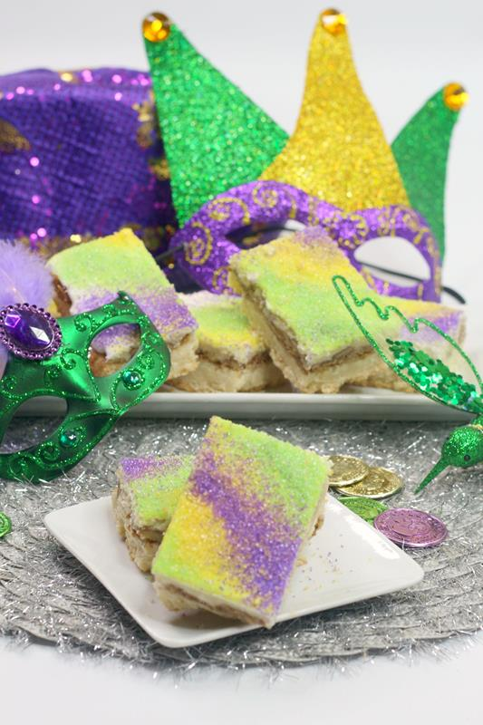 Recipe for making Mardis Gras Bourbon King Cake Bars