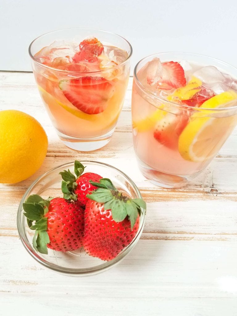 Pink Lemonade Moscato - add fresh fruit and ice to the cocktail to make it look beautiful and add more flavor
