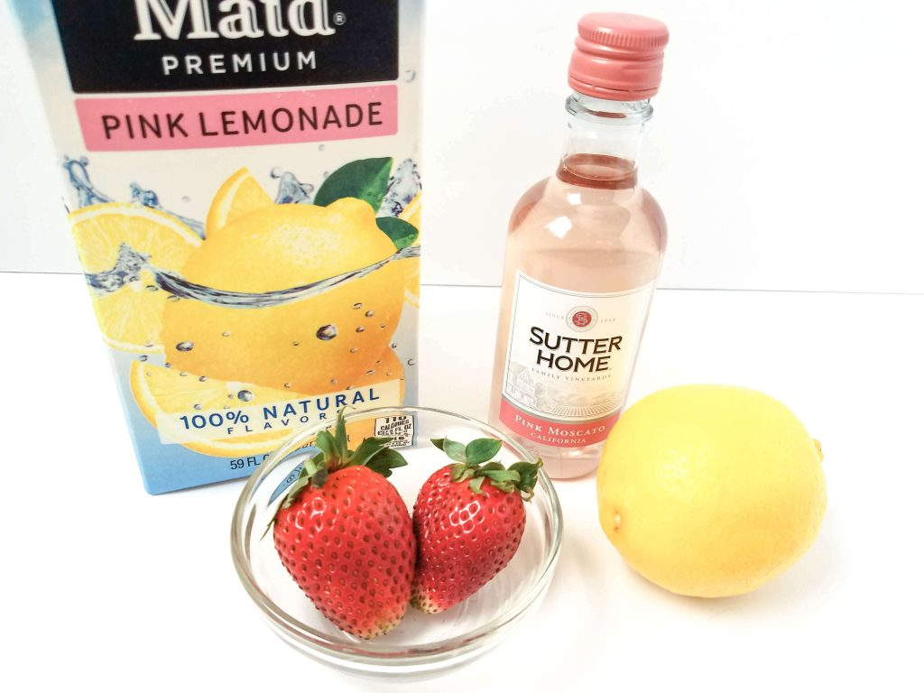 Pink Lemonade Moscato - All the ingredients, pink lemonade, strawberries, pink moscato, lemon
