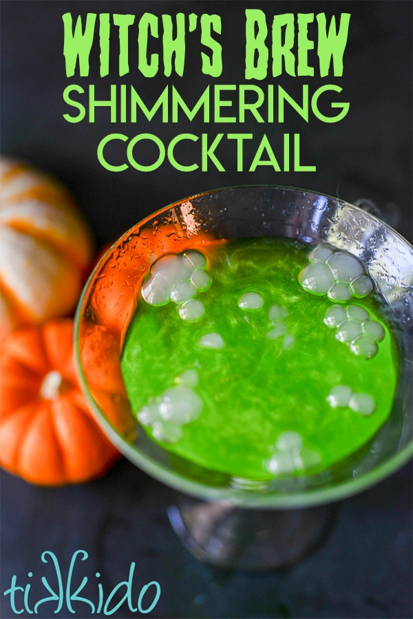 Spooky Halloween Cocktail Recipe - Witch's Brew Shimmering Cocktail
