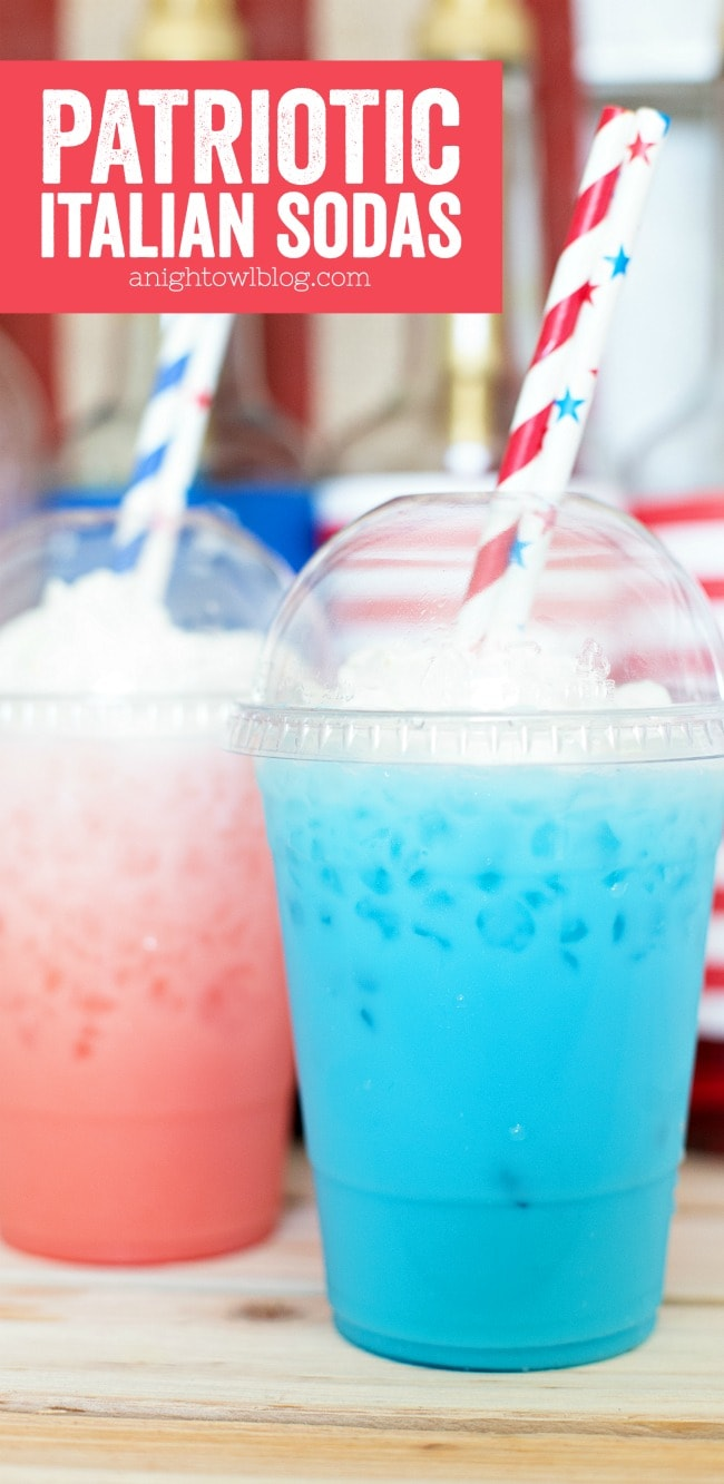 Patriotic Red, White and Blue Drink Ideas for Independence Day - Patriotic Italian Sodas