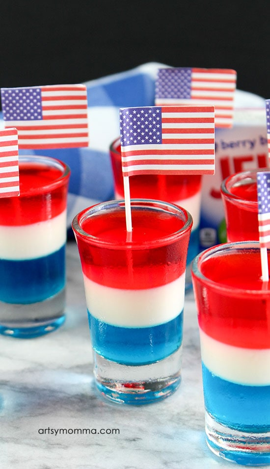 Patriotic Red, White and Blue Drink Ideas for Independence Day - Alcohol-Free Red, White & Blue Jello Shots
