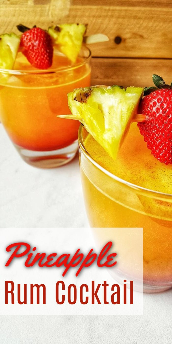 Delicious Pineapple Rum Cocktail that's easy and refreshing to make any time of year. Drinks for by the pool, or to feel fancy in the middle of the winter!
