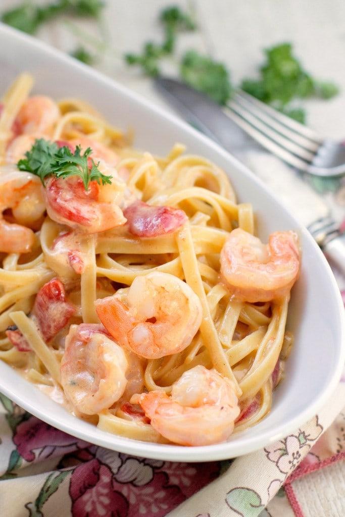 What kind of wine should go with shrimp? Creamy Garlic Skillet Shrimp