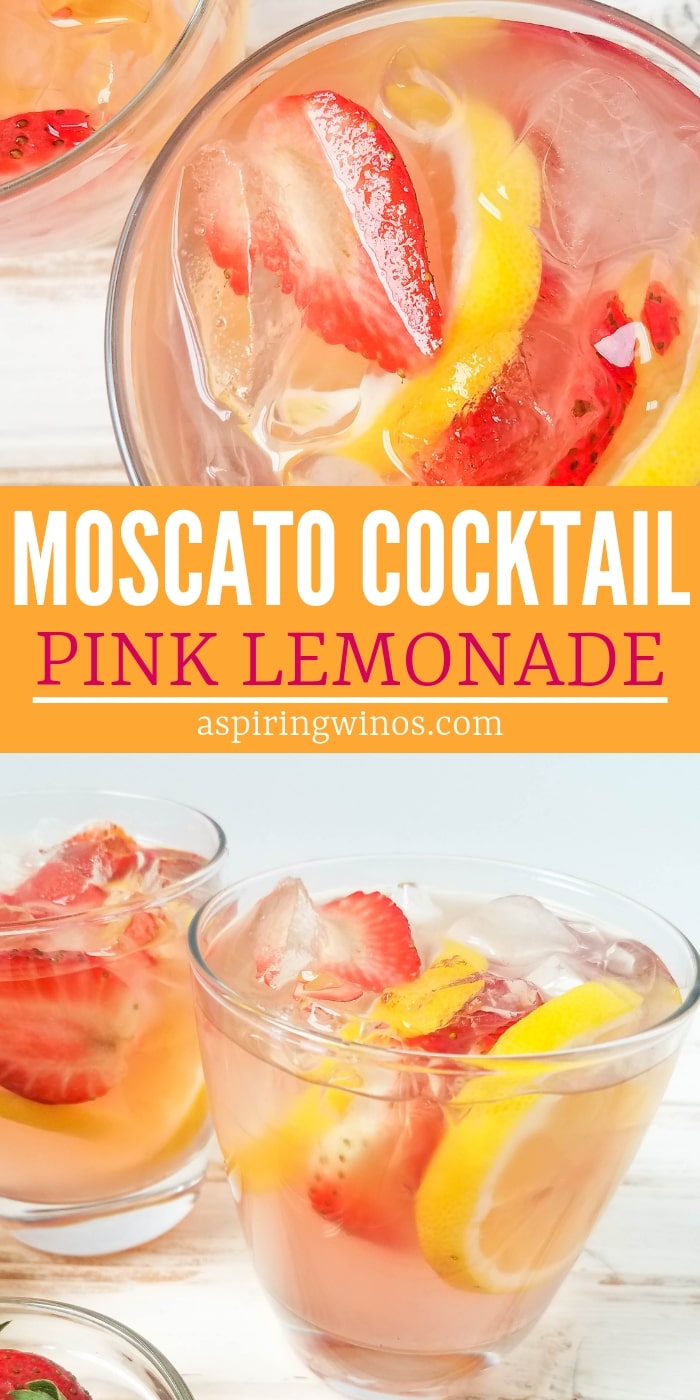 Pink Lemonade Moscato Alcoholic Lemonade Cocktail Recipe | Fun Alcoholic Lemonade Recipe that serves a crowd and can be made in a pitcher. This is a great option for a brunch cocktail that's not a #mimosa, or for a wedding bridal shower or a patio pounder. #moscato #cocktails #brunch