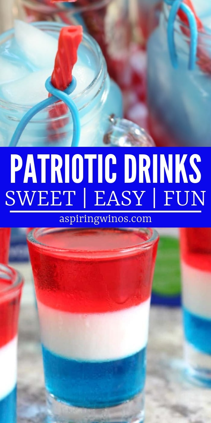 Patriotic Red, White & Blue Drinks - Cocktails and virgin non-alcoholic versions available, including layered jello shots for kids! Plan your Memorial Day or Fourth of July party to include one of these show stopping drinks for your guests. The recipes range from easy to more assembly required, but will let you celebrate Independence Day in style! #cocktails #mocktails #independenceday #memorialday