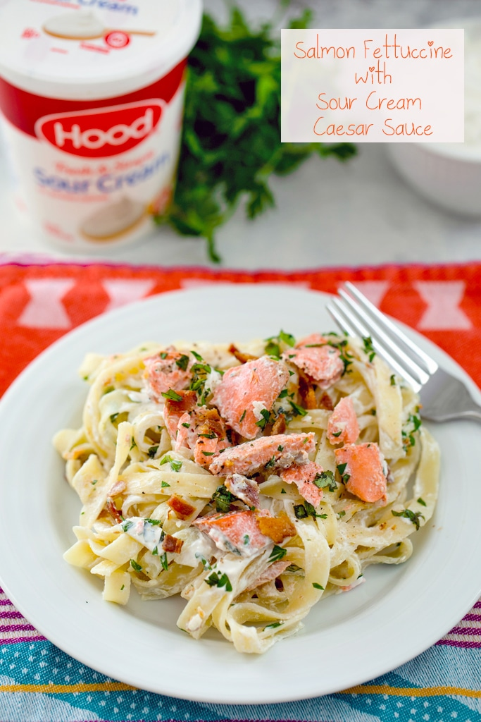 Salmon Fettuccine With Sour Cream Caeser Sauce - Creamy dishes to pair with Chardonnays