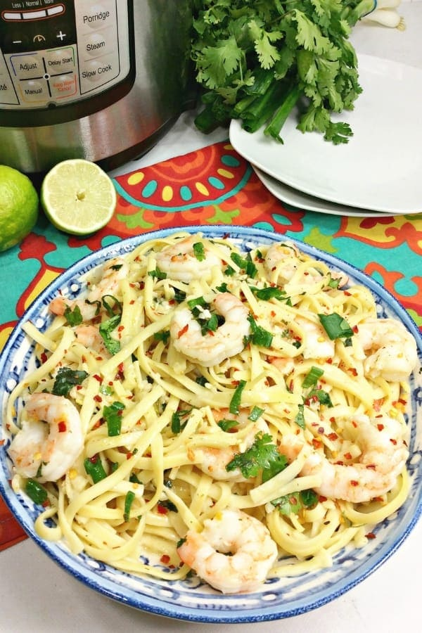 Instant Pot Cilantro Lime Shrimp Scampi Pasta to serve with chardonnay for dinner