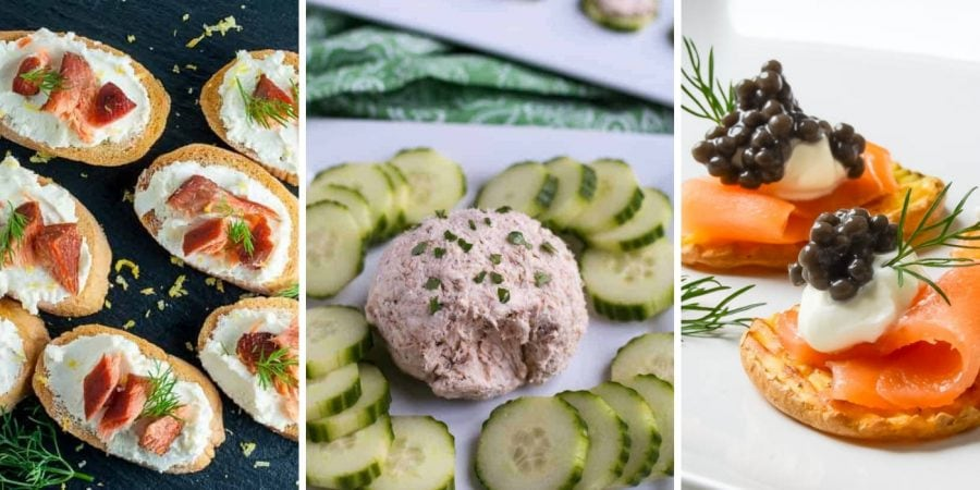 three panel image of different appetizers
