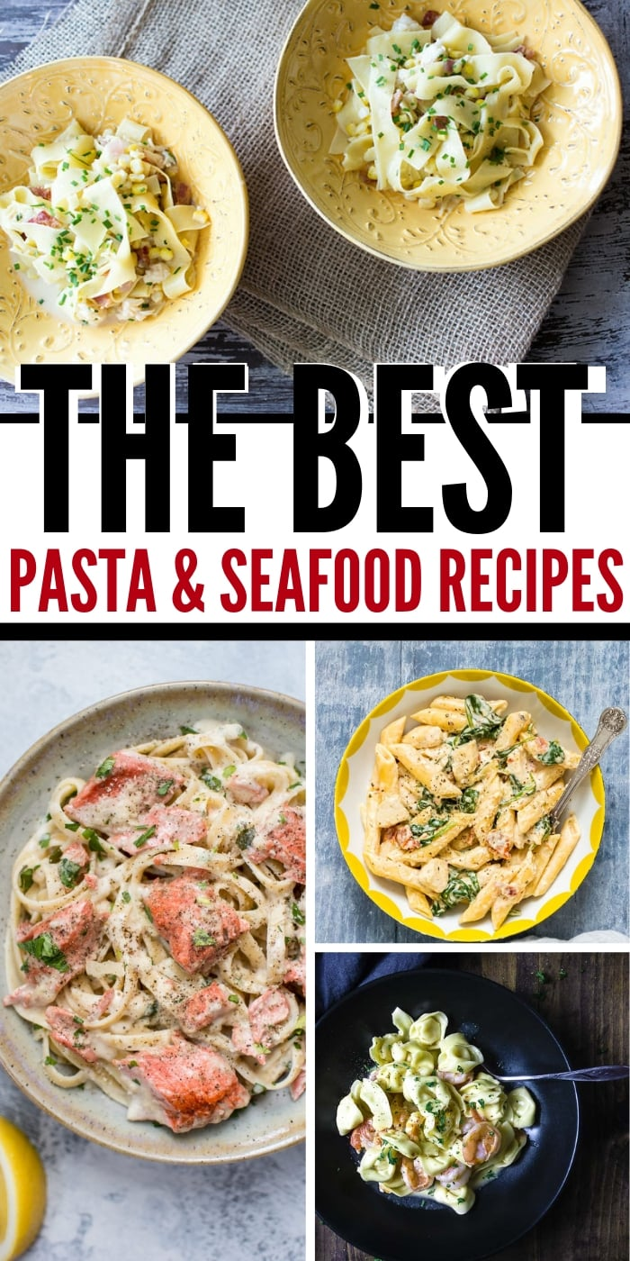 Try one of these wonderful cream pasta & rich seafood dishes to pair with California Chardonnay, creamy, buttery and delicious! | Perfect main dishes and appetizers for the next time you're pairing wine with dinner and want to serve up a #chardonnay, or are just looking for some #seafood recipes that will wow your guests. #winetasting #winepairing #entrees #pasta