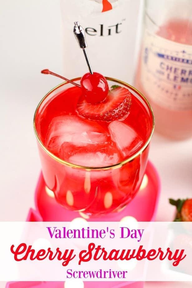 Valentine's Cherry Strawberry Screwdriver Cocktail Recipe