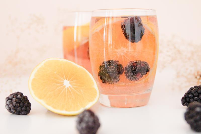 Sangria cocktail rose spritzer blackberries orange