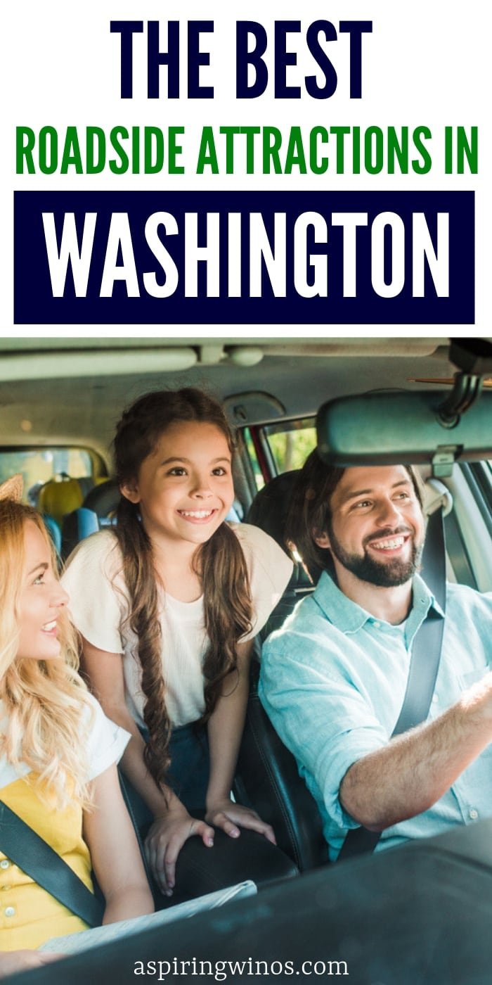 Fun roadside attractions in Washington State | Stop at these (mostly) free places to visit in Washington while you are on your next road trip. These are family-friendly destinations that add to the flavor of traveling in the USA. Pull over with your car and take a picture of some silly iconic spots that will make your trip memorable. #travel #roadtrip #washington #vacation #family