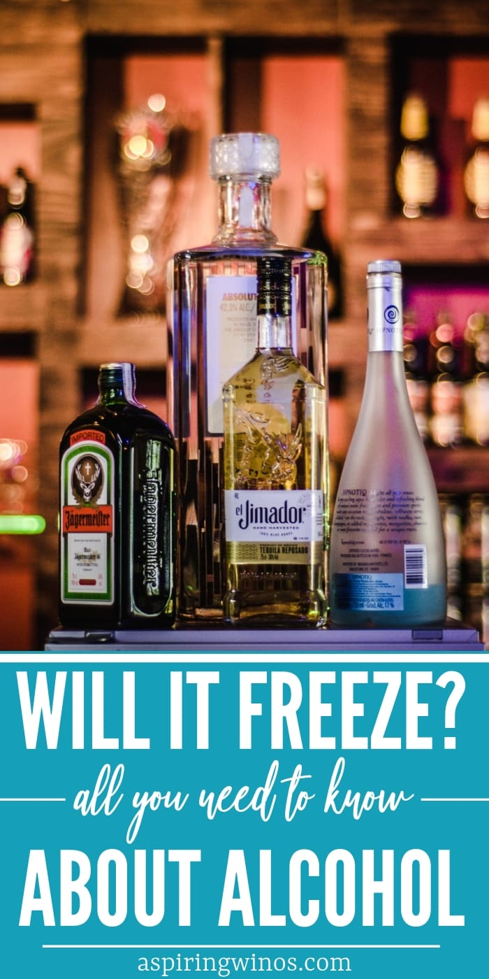 Have you ever wondered what temperature alcohol will freeze at? Specifically, does wine freeze? How long does it take before a frozen beer explodes in your freezer? Learn how to get your champagne cold, but not exploding, with these cocktail tips. #wine #beer #alcohol #spirits #cocktails #vodka
