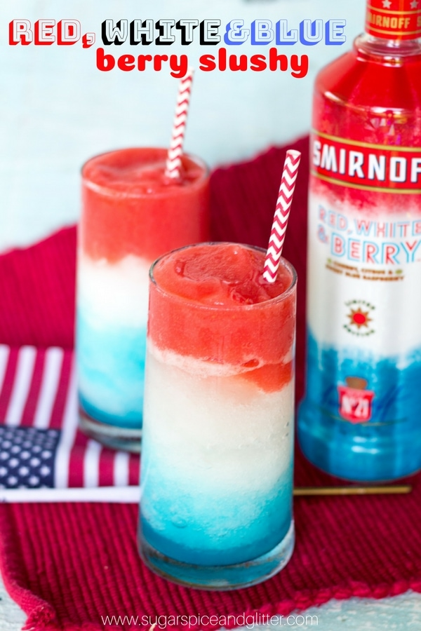 Patriotic Red, White and Blue Drink Ideas for Independence Day - Red, White & Blue Berry Slushy with Alcohol