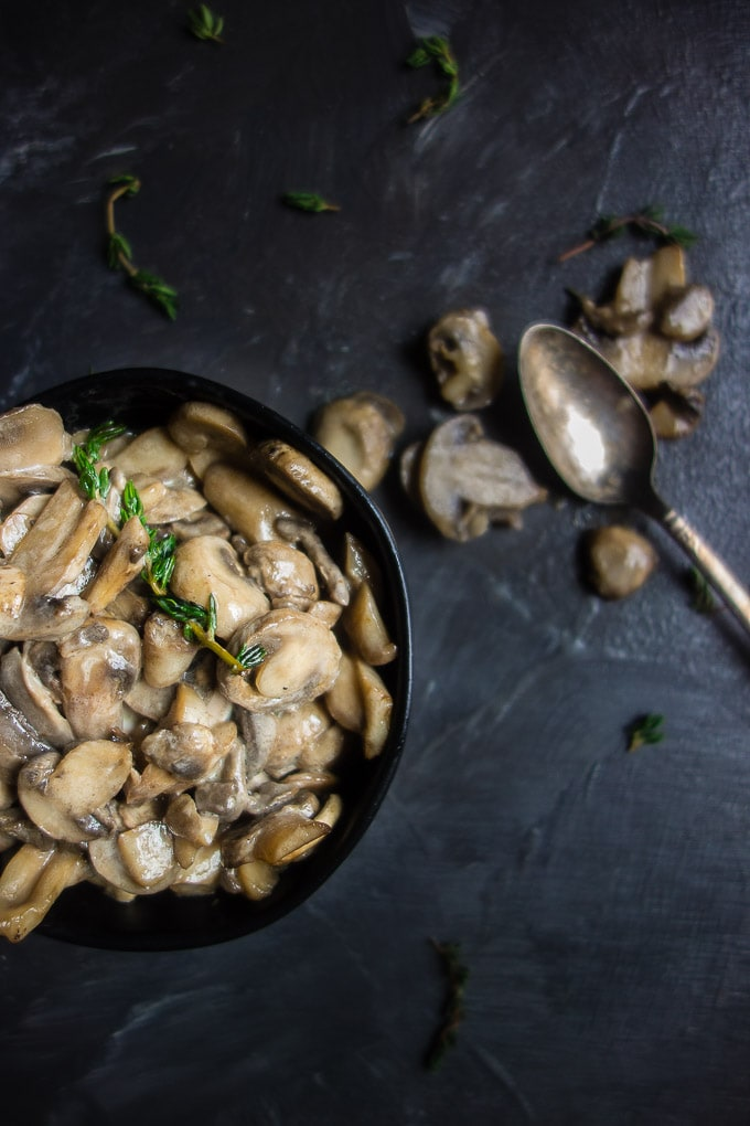 Mushroom Dishes to Pair with Pinot Noir - buttery brandied mushrooms