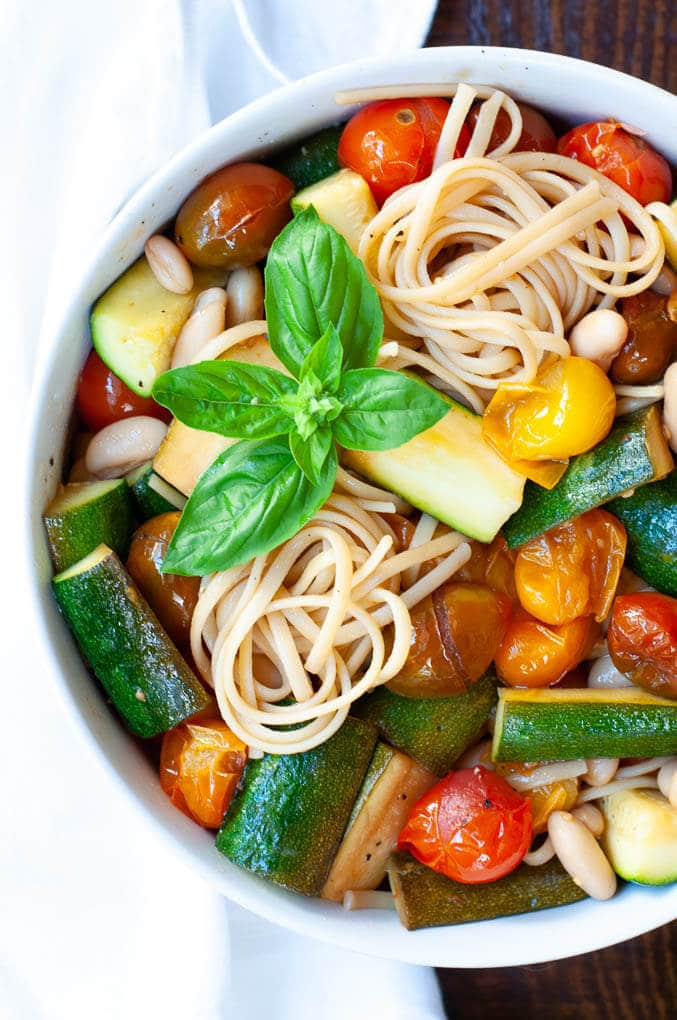 Tomato Based Dishes To Pair With Chianti - Balsamic Cherry Tomato Pasta with Zucchini and Cannellini Beans