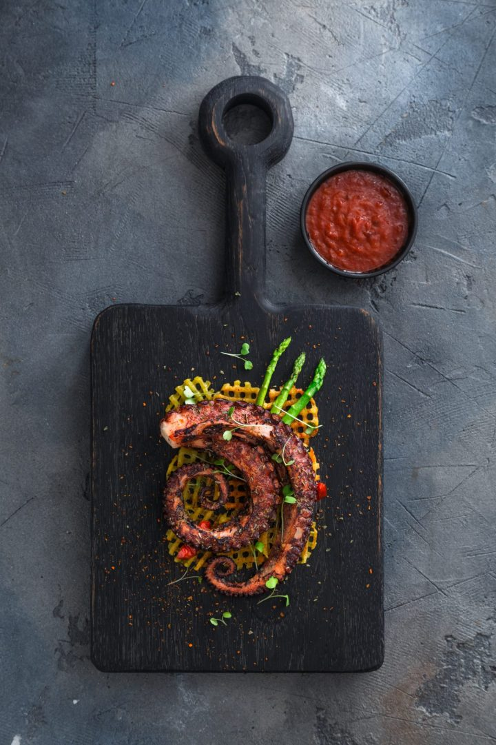 Grilled Octopus Salad With Waffle-Cut Sweet Potato Fries