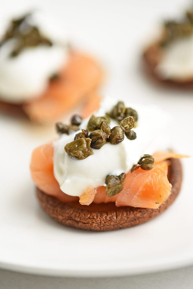 Mushroom Dishes to Pair with Pinot Noir - crispy mushroom caps with cream cheese and lox