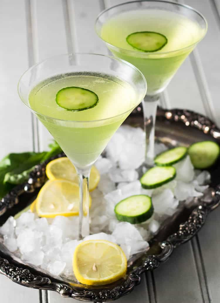 Green Cocktails To Celebrate St. Patrick's Day Without Beer - Lemon Cucumber Martini with Fresh Basil