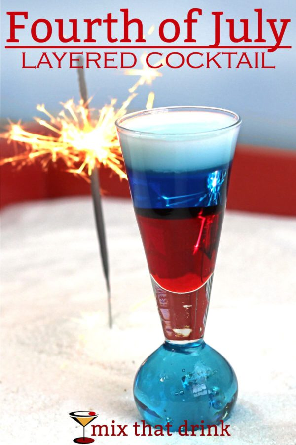 Patriotic Red, White and Blue Drink Ideas for Independence Day - Fourth of July Layered Cocktail