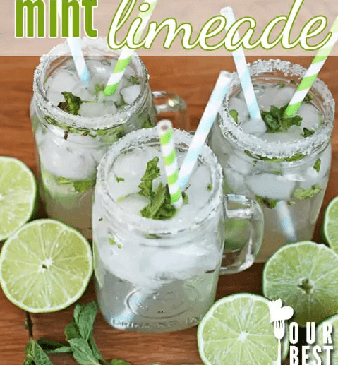 Virgin #Mocktails and Non-Alcoholic Cocktails | Mint limeade with green straws, fresh mint, fresh limes and rimmed glasses