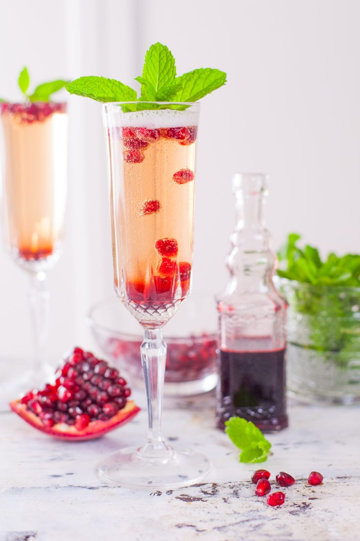 Pomegranate Mint Champagne Cocktail Recipe