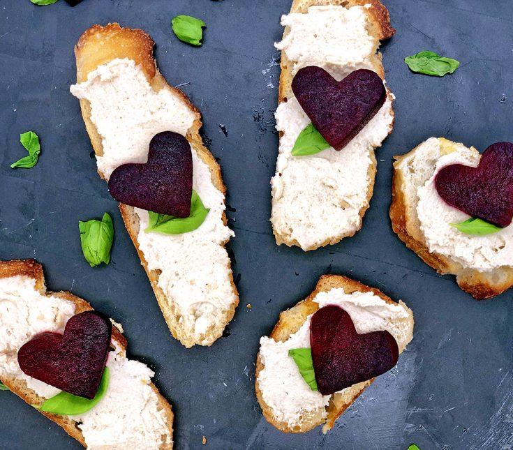 Roasted Beets and Vegan Cashew Cream Cheese Crostini