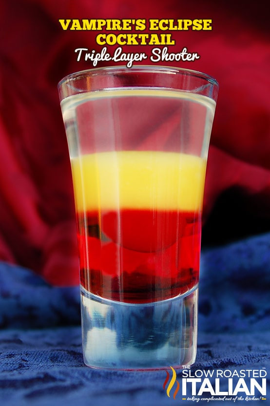 Spooky Halloween Cocktail Recipe - Vampire's Eclipse Triple Layer Shooter
